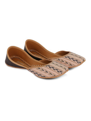 Peach Handcrafted Jacquard and Leather Juttis with Aztec Pattern
