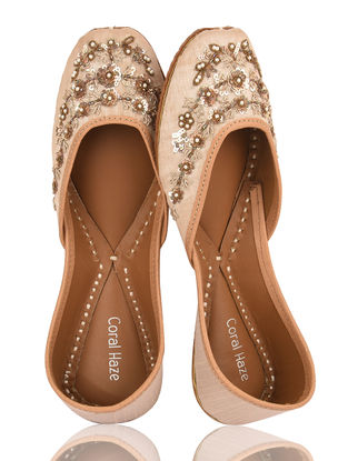 Ivory Embroidered Dupion Silk and Leather Juttis with Zardozi Work