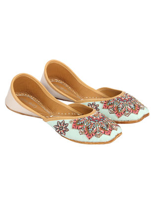 Multicolored Hand Embroidered and Printed Silk and Leather Jutti with Sequins