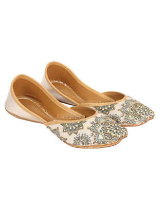 White-Golden Hand Embroidered and Printed Silk and Leather Jutti with Sequins