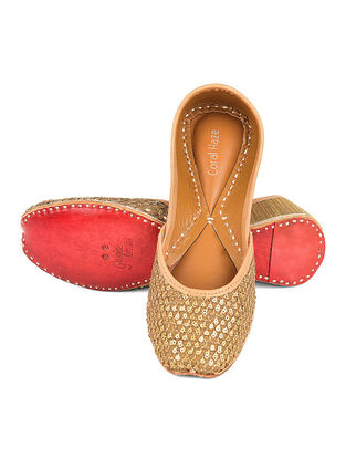 Golden Handcrafted Silk and Leather Jutti with Sequin and Zari Work