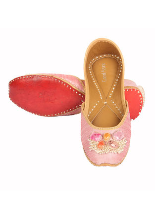 Pink Handcrafted Silk and Leather Jutti with Embellishments