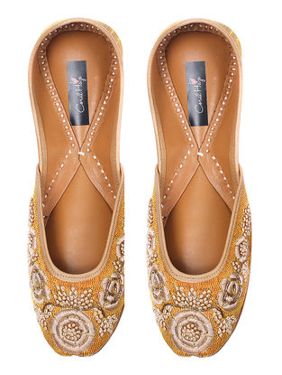 Yellow Floral Thread-embroidered Silk and Leather Juttis
