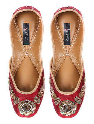 Maroon Zardozi-embroidered Silk and Leather Juttis