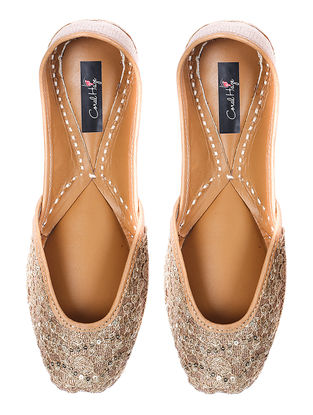 Golden Zari-embroidered Silk and Leather Juttis