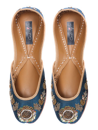 Blue Zardozi-embroidered Silk and Leather Juttis