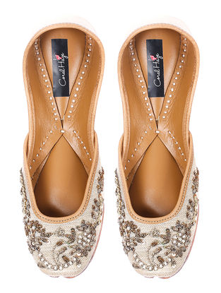 Ivory-Gold Silk and Leather Juttis with Sequin Embellishment