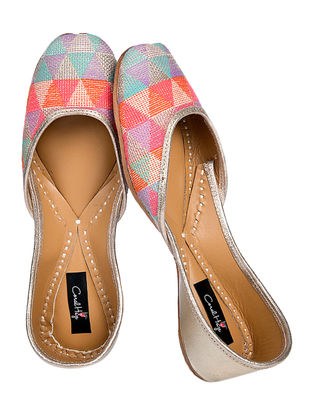 Multicolored Geometric Pattern Jacquard Cotton and Leather Juttis