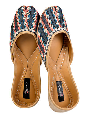 Multicolored Geometric Pattern Denim and Leather Juttis