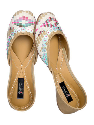 Beige-Pink Jacquard Cotton and Leather Juttis with Sequins