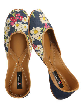 Blue Floral Printed Cotton and Leather Juttis