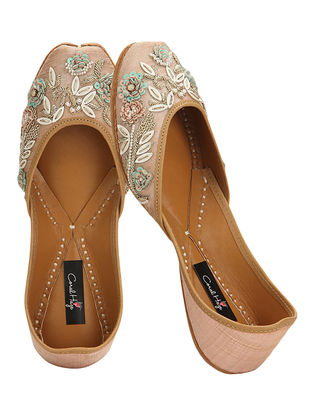 Peach Zardozi and Sequins-embroidered Silk and Leather Juttis