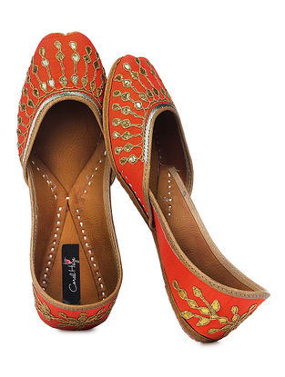 Orange Gota Patti Embroidered Silk and Leather Juttis