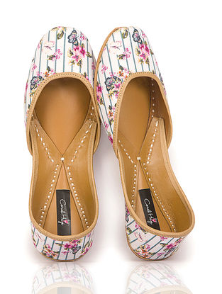 Ivory Floral Printed Canvas and Leather Juttis