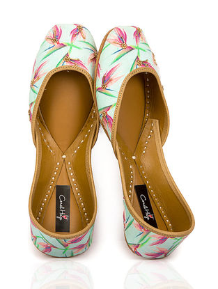 Mint Blue Floral Printed Canvas and Leather Juttis with Embellishments