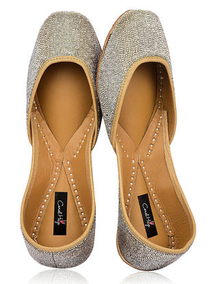 Silver Hand-Embroidered Silk and Leather Juttis with Embellishments