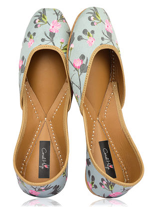 Multicolored Floral Printed Silk and Leather Juttis