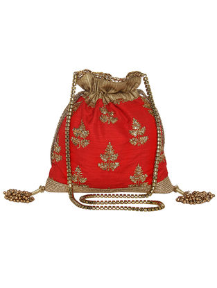 Red Thread and Sequin Embroidered Silk Potli with Tassels