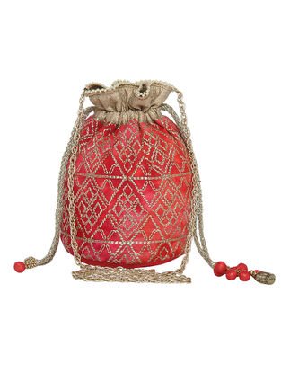 Pink-Red Zari Embroidered Silk Potli with Tassels