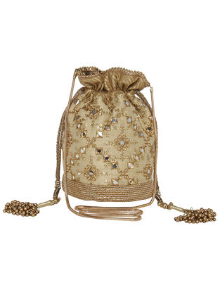 Beige-Golden Zari and Sequin Embroidered Silk Potli withTassels