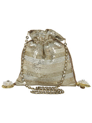 Silver-Golden Sequin Potli with Floral Tassels