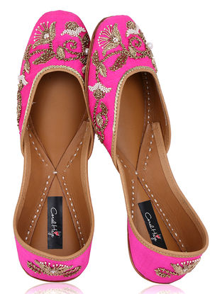 Pink Zardozi Embroidered Raw Silk Juttis