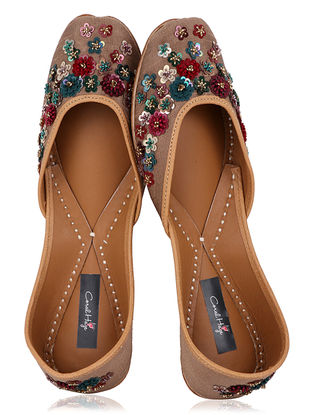 Golden Thread Embroidered Dupion Silk Juttis with Sequins Embellishments
