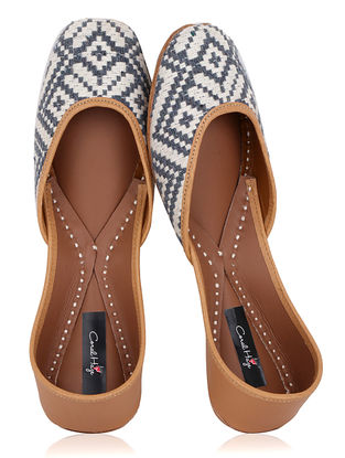 White-Blue Jacquard and Leather Juttis
