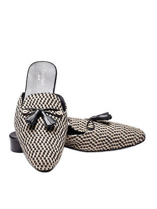 Black-Beige Handcrafted Jacquard Mules with Wooden Button and Tassels for Men