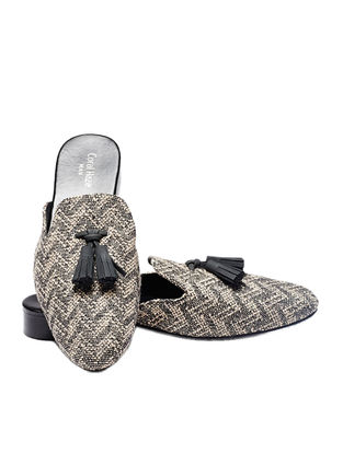 Black-Beige Handcrafted Jacquard Mules with Tassels for Men