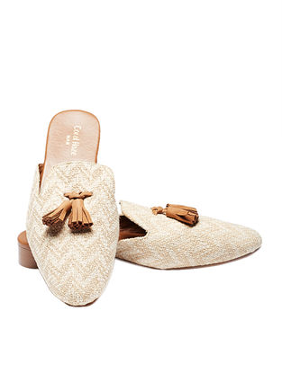 Beige-Tan Handcrafted Jacquard Mules with Tassels for Men