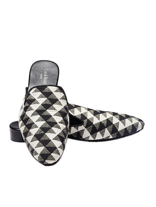 Black-White Handcrafted Jacquard Mules for Men