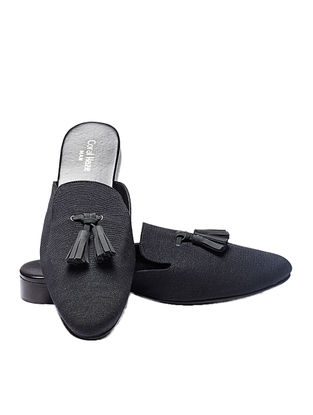 Black Handcrafted Jacquard Mules with Tassels for Men