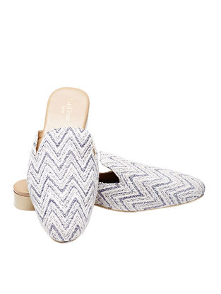 White-Blue Handcrafted Jacquard Mules for Men