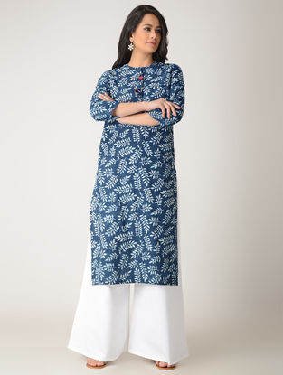 Indigo Block-printed Cotton Kurta with Tassels