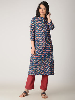 Indigo Block-printed Cotton Kurta