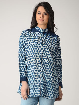Indigo Block-printed Cotton Shirt