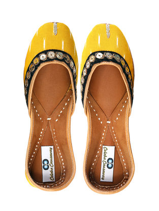 Yellow-Black Handcrafted Cotton and Leather Juttis