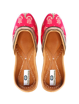 Pink Handcrafted Cotton and Leather Juttis