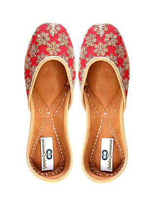 Red Embroidered Silk and Leather Juttis