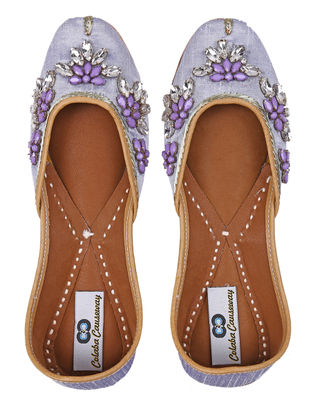 Purple Handcrafted Silk and Leather Juttis