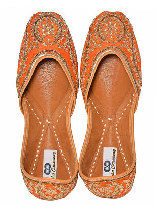 Orange Hand-Embroidered Silk and Leather Juttis with Embellishments