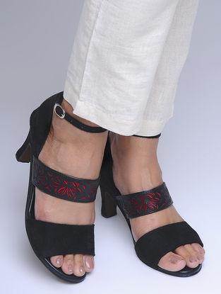 Black-Red Laser Cut Suede Heels