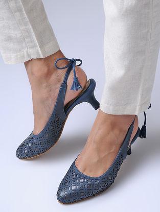 Blue-Grey Laser Cut Heels
