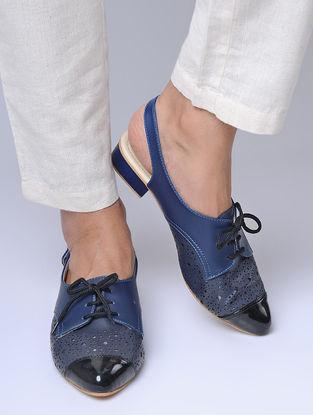 Blue-Grey Laser Cut Block Heels