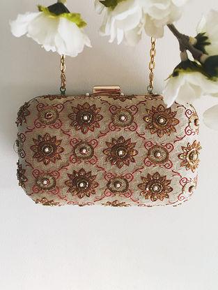 Brown-Orange Hand-Crafted Zardozi-Embroidered Brocade Clutch