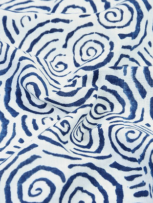 Indigo-White Natural-dyed Block-printed Cotton Fabric