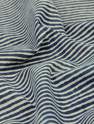 Indigo-Beige Natural-dyed Block-printed Striped Cotton Fabric