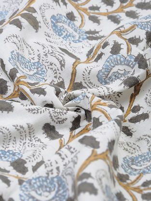 Ivory-Grey Natural-dyed Block-printed Cotton Fabric