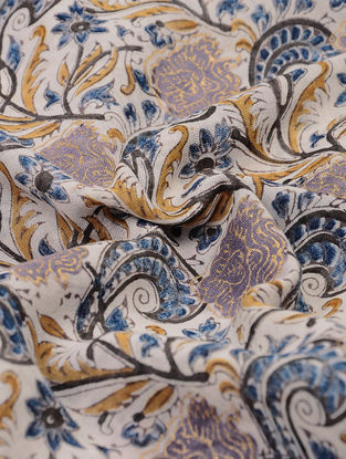 Beige-Blue Natural-dyed Block-printed and Khari-printed Cotton Fabric